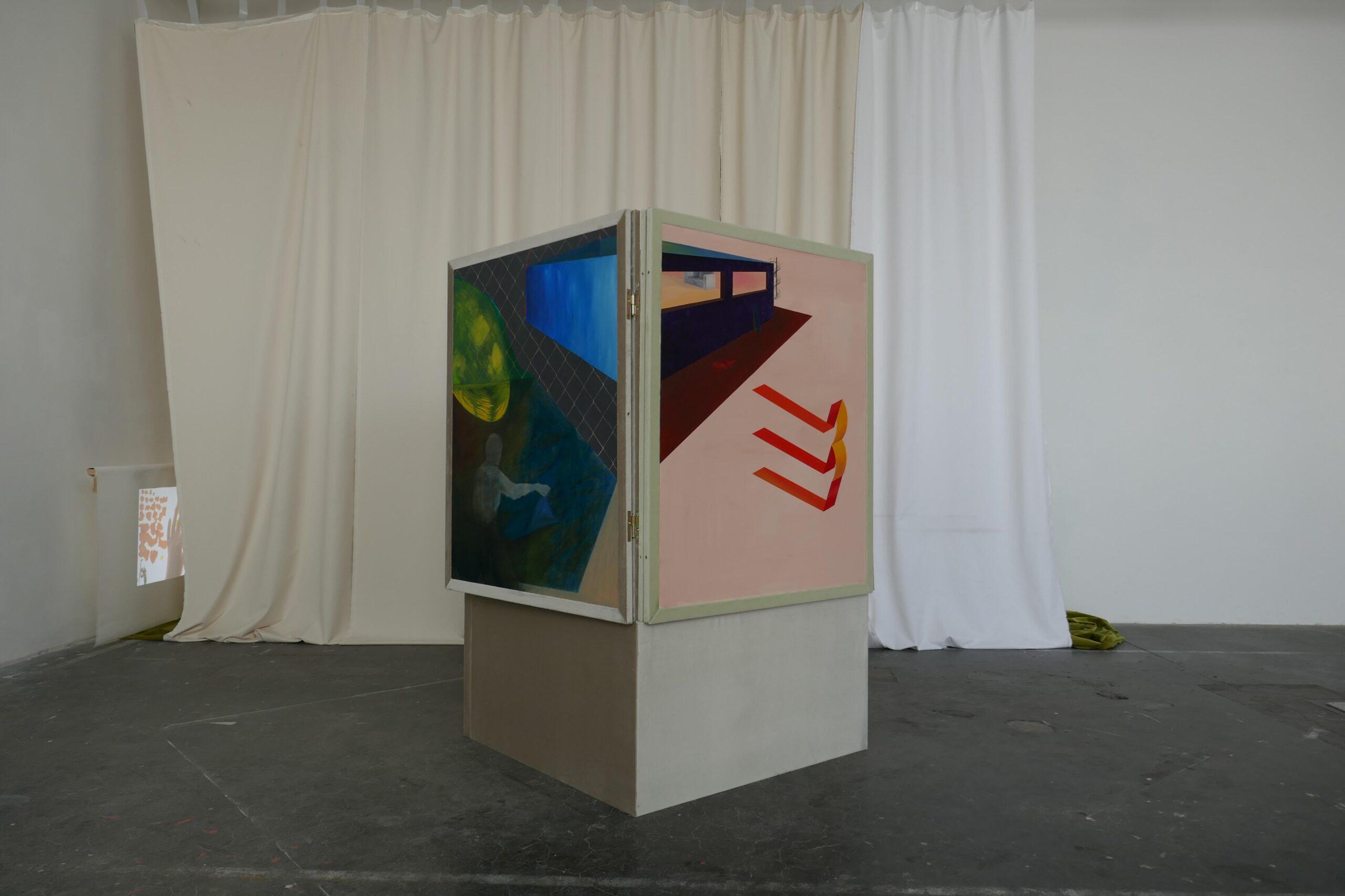 Vierecksbeziehung, 300x300x200 cm, oil on panel